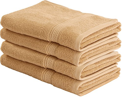 Cotton Large Hand Towels (Beige, 4-Pack,16 x 28 inches) - Multipurpose Use for Bath, Hand, Face, Gym and Spa- By Utopia Towels