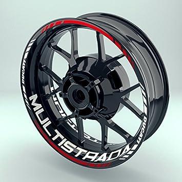 17 Zoll Vorder- /& Hinterreifen Komplett-Set Felgenrandaufkleber /& Felgenbettaufkleber Felgenaufkleber Set Ducati Multistrada f/ür Motorrad Einfach - gl/änzend