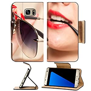 Luxlady Premium Samsung Galaxy S7 EDGE Flip Pu Leather Wallet Case IMAGE ID: 43583300 Sunglasses in the teeth