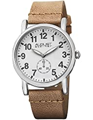August Steiner Womens AS8110TN Swiss Quartz Silver-tone Tan Leather Strap Watch