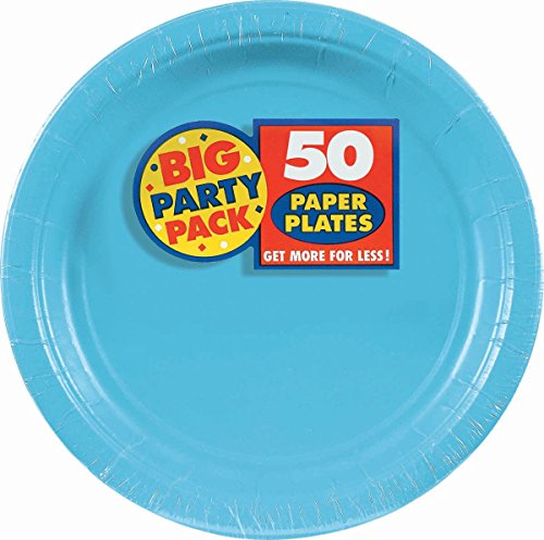 Amscan Caribbean Blue Big Party Pack Dinner Plates (50)