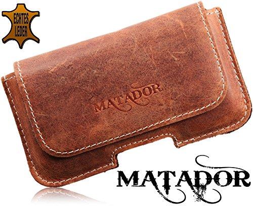 Echt Leder Handytasche von Matador Tasche Case Hülle Gürteltasche Quertasche für Apple iPhone 3G's in Antik Konjak Vintage Style mit verdecktem Magnetverschluß und Gürtelschlaufe