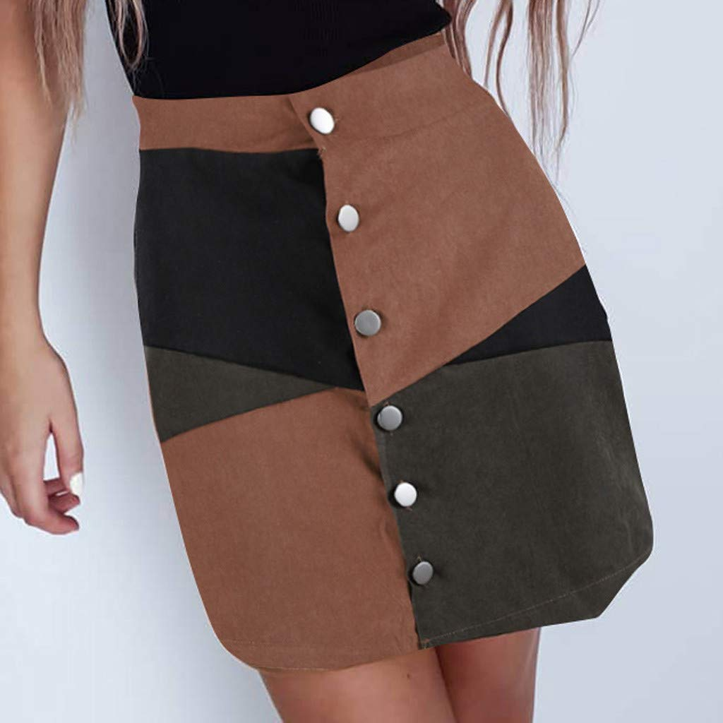 Fashion Skirt in Londony ♥‿♥ Women's Faux Suede Button Color Block Closure A-Line Tight Mini Short Skirt by Londony❤ღ♕ (Image #3)