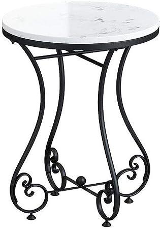 NATUO-Mesas de Muebles Mesita Auxiliar Moderna, Mesa de Centro Redonda Redonda de Metal de Mediados de Siglo, Mesa de cóctel pequeña de jardín con Detalles de mármol, con Estante de Almacenamiento,: Amazon.es: