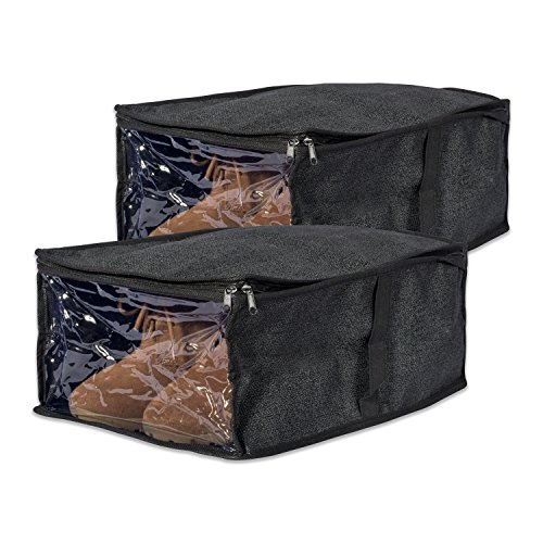 DII-Breathable-Woven-Paper-Texture-Under-the-Bed-Soft-Storage-Shoe-Organizer-with-Viewing-Window-16-X-10-X-6-Black-Set-of-2