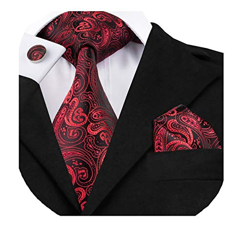 Dubulle Mens Paisely Red and Black Tie Pocket Square Woven Silk Necktie Set with Cufflinks for - Black Tie Silk Paisley