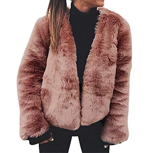 Color Piel Tops Abrigo Larga Rosa Cálido Invierno Chaquetas Sintética Manga  Felz Outwear Ocio Sólido Mujer De SzwaaH 5cf081dcc418