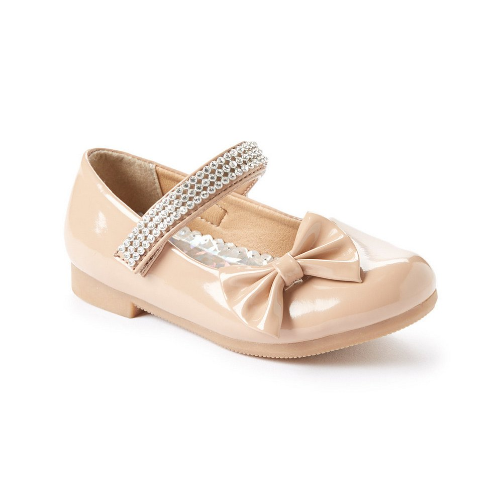 Little Girls Nude Rhinestone Strap Bow Patent Mary Jane Flats 10 Toddler:  Amazon.co.uk: Shoes & Bags