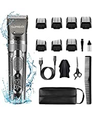 SUPRENT™ Cordless Hair Clippers for Men, IPX6 Waterproof Hair Trimmer with 5 Adjustable Speed Settings, Professional Barber Grooming Kit, Rechargeable Hair Cutting Kit with Scissors Case