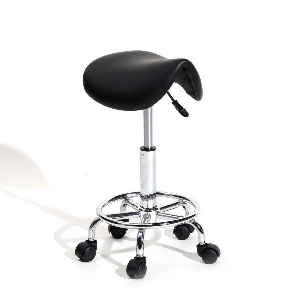 TimmyHouse Swivel Saddle Stool Modern Hydraulic Adjustable SPA Salon 5 Wheels Rolling Chair