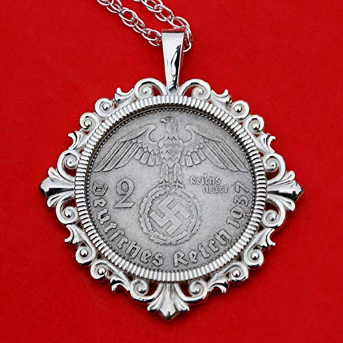 (1937 Germany 2 Mark Silver Coin 925 Sterling Silver Necklace NEW - Third Reich Reichsmark Eagle)