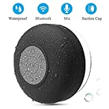 BONBON Shower Speaker Bluetooth Waterproof Water Resistant Handsfree Portable Wireless Shower Speaker,Build-in Microphone, Solid Suction Cup, 4 hrs Play Time,(Black)
