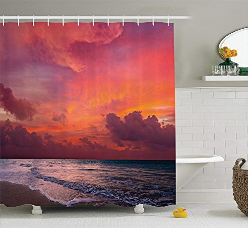 Ranche Balinese Decor Collection, Calm Ocean Shoreline on Tropical Sunrise Bali Indonesia Wavy Sunbeams Scenic, Polyester Fabric Bathroom Shower Curtain by Ranche