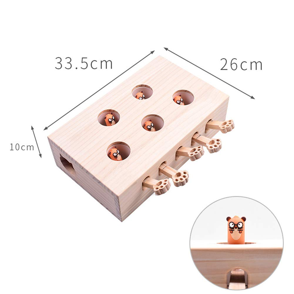 XuBa Wooden 5 Mouse Holes Scratch Bite Resistant Interactive Toy for Pet Cat Doll Model by XuBa