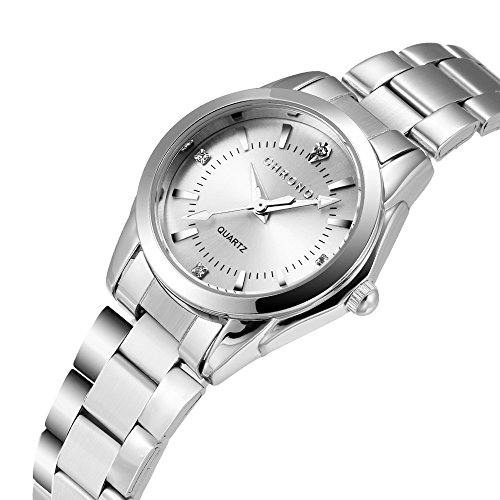 Chronos Women Girls Silver Stainless Steel Quartz Waterproof Watch Round Analog Silver Dial by Chronos (Image #1)'