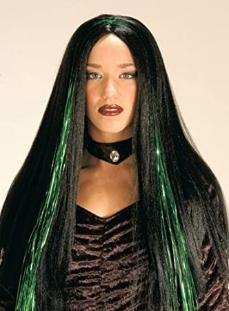 Cabello largo-peluca Halloween con Glitter-mechas de coloures (violeta o verde)