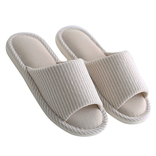 mianshe Women's and Men's House Slippers Non-Slip Open Toe Couple Sandals Knitted Cotton Mules Shoes by mianshe