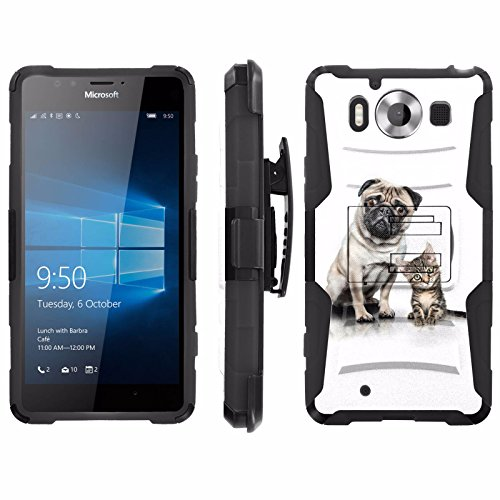 Price comparison product image [ArmorXtreme] Case for Microsoft Lumia 950 Black / Black [Combat Armor Heavy Duty Case with Holster] - [Mops and A Cat]