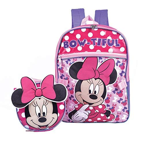 Minnie Mouse Backpack Combo Set - Disney Minnie Mouse 2 Piece Backpack School Set (Pink) ()
