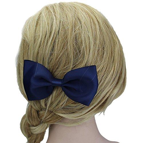 QtGirl 9 Pièces 14cm Grande Pince à Cheveux Bowknot Couleur Pure Pour les Filles