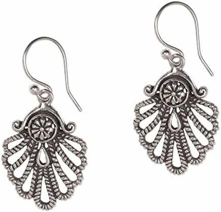 NOVICA .925 Sterling Silver Dangle Earrings 'Gleaming Shell'
