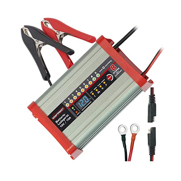 5120J5kfQ0L Dino KRAFTPAKET 136321 Batterieladegerät 10A-12V mit Camping-Funktion Nachtmodus und Memory-Speicher für KFZ PKW Auto…