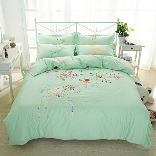 TheFit Paisley Textile Bedding for Adult U387 Art Green Deer Flora Duvet Cover Set 100% Cotton, Queen King Set, 4 Pieces (Queen) (Uk Sets Modern Furniture Nursery)