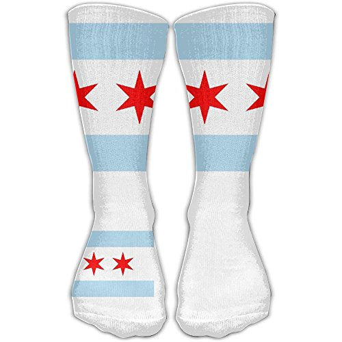 City Double Stretch Flat - Chicago City Flag USA Socks (1 Pair) Suitable For Women & Men Funny Casual Cotton Stocking