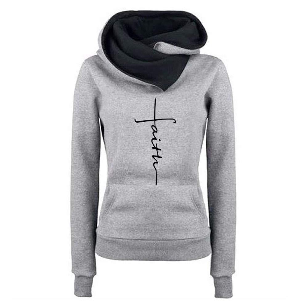 St.Dona Hoodie Sweatshirt, Women Faith Letter Printed Hoodie Pullover Long Sleeve Sweatshirt Pocket