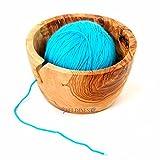 Handmade Olive Wood Yarn Bowl, Knitting Bowl