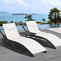 Homall 3 Pieces Outdoor Patio Chaise Lounge Chair Recliner Adjustable Back Support Porch Patio Garden Poolside Furniture Set Black (3, PE Rattan)