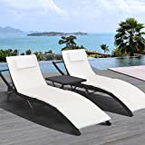 Homall Outdoor Patio Chaise Lounge Chair Recliner Adjustable Porch Patio Garden Poolside Furniture Set Black (3, PE Rattan) For Sale