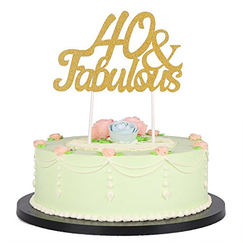 LXZS-BH Gold Glitter Fabulous Cake Topper,Wedding,Birthday,Anniversary, Party Decorations ()