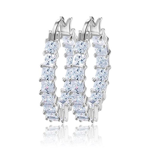 Plated Swarovski Rhinestone - UPRIMOR Elegant Platinum Plated Inside-Out Clear Cubic Zirconia Hoop Earrings/Loop Earrings for Women and Girls,1