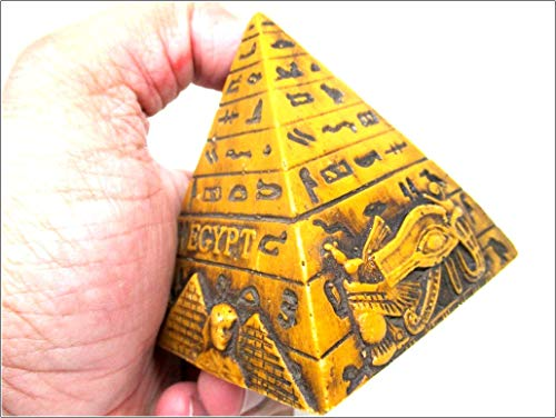 Jet Egyptian Pyramid 3.5 inch Khufu Giza Pharaoh Collectible Decoration Decor Home Crafts Gift Antique Statue Avatar Money Wealth Fame Memphis Egypt Mummy Wonders World Image is JUST A Reference
