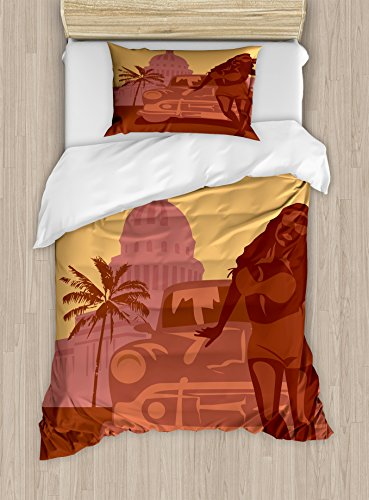 (Lunarable Havana Twin Size Duvet Cover Set, Silhouette of a Woman with Sunglasses Standing by Retro Car Coffee Toning, Decorative 2 Piece Bedding Set with 1 Pillow Sham, Apricot and Cinnamon)