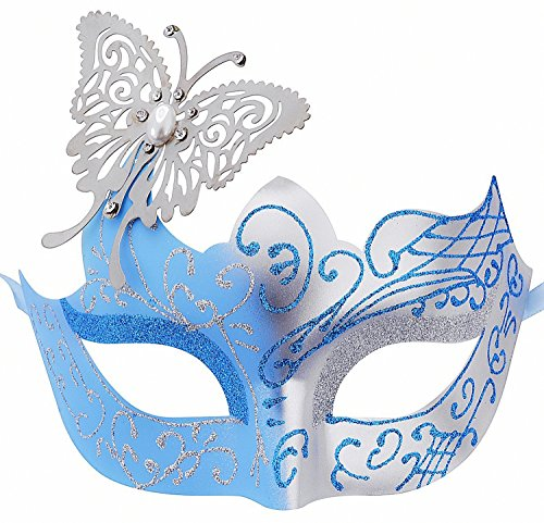 Cozypony Elegant Princess Laser Cut Metal Butterfly Party Mask, Venetian Masquerade Masks for Halloween Mardi Gras Party or Prom (One Size, Blue) - Elegant Laser Cut Mask