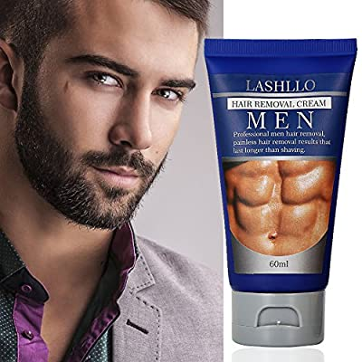 LASHLLO Depilatory, Natural Painless Permanent Thick Hair Removal Cream + Plastic Scraper, Used on Bikini,Underarm,Chest, Back, Legs and Arms for Men, 60ml