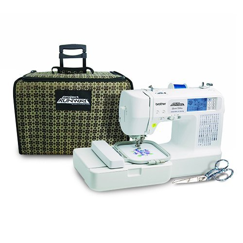 Brother LB6800PRWPKG Project Runway Computerized Embroidery and Sewing Machine with Gingher Limited Edition Jennifer Designer Series 8 inch Dressmaker scissors and Includes Rolling Carrying Case by Brother Sewing
