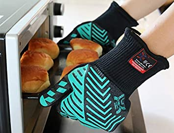 Extended Long Cuff BBQ Gloves /& Oven Mitts for Cooking Fireplace JH Heat Resistant Oven Gloves:EN407 Certified Withstand 932 /°F Kitchen Double Layers Silicone Coating 1 Pair Grilling