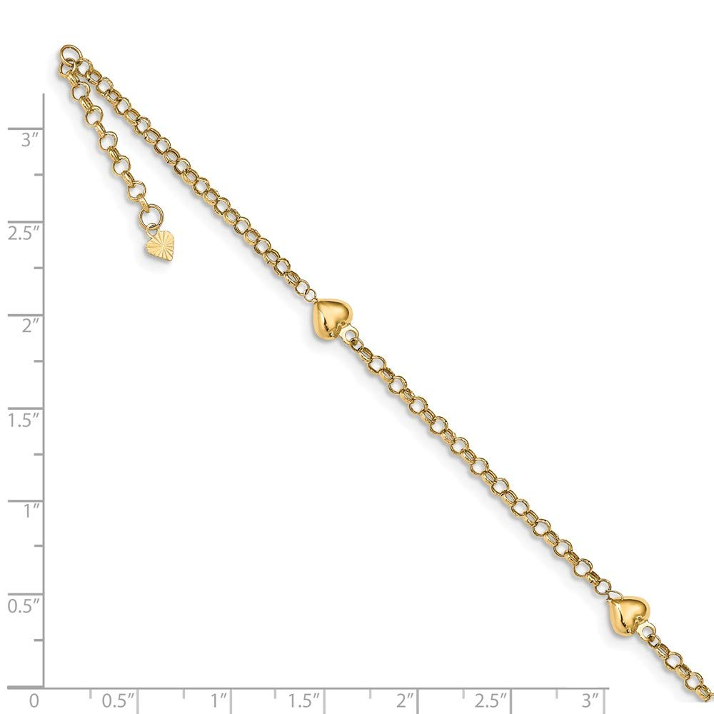 FB Jewels Solid 14K White Yellow and Rose Three Color Gold Circle and Oval 9In 1In Ext Anklet