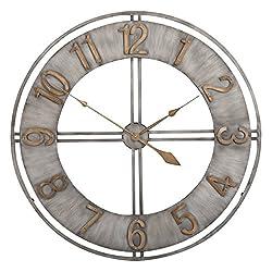 Studio Designs Home Industrial Loft 15 Inches Metal Wall Clock, Brushed Steel/Bronze