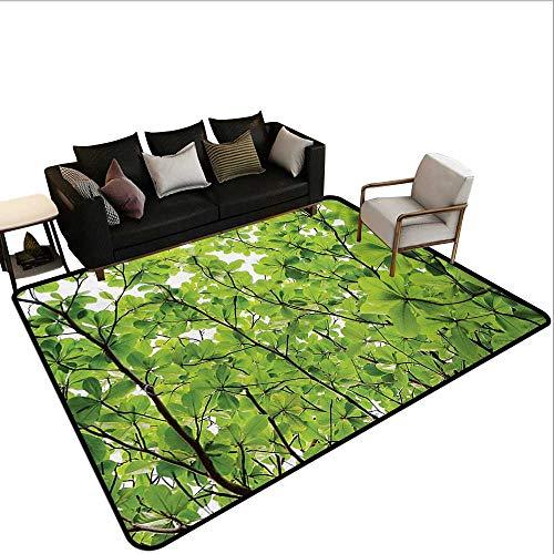 Custom Pattern Floor mat,Close-up Tree Leaves from an Uprising Angle High Plants Summer Fresh Environment Habitat 6'6