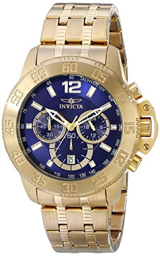 Invicta Bracelets Gold (Invicta Men's 17447 Specialty 18k Gold Ion-Plated Stainless Steel Watch with Link Bracelet)