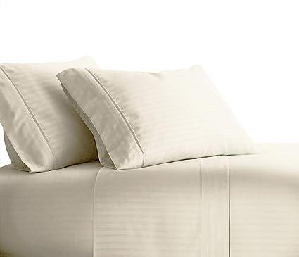 f6e89b8056ec sheetsnthings Damask Stripe 1000 Thread Count, Pure Cotton King Size Bed  Sheets (Ivory) Soft, Deep Pocket, 4PC Sheet Set