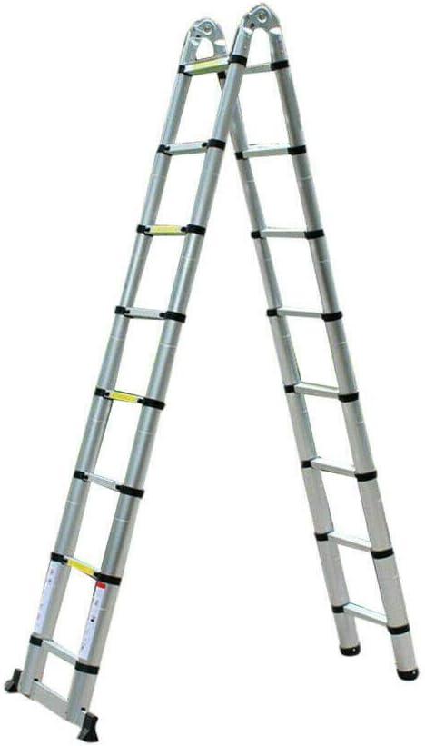Escalera telescópica de aluminio, 5 m, multiusos, escalera de tijera plegable, hasta 150 kg, multifunción, escalera multiusos: Amazon.es: Bricolaje y herramientas