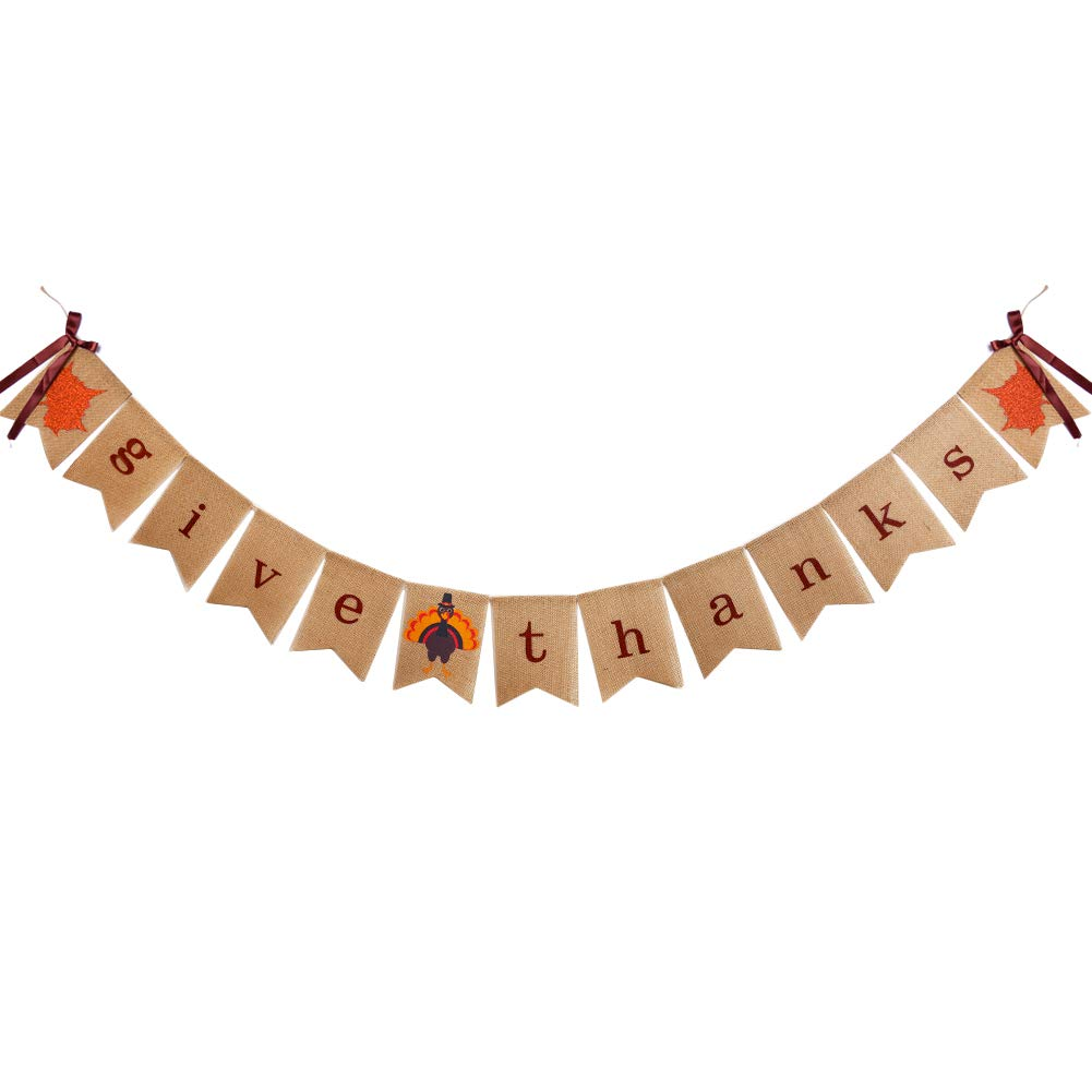 Give Thanks Burlap Garland Bunting Banner Happy Thanksgiving Day Party Home Decoration Threemart