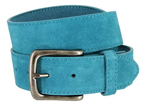 Casual Jean Suede Leather Belt for Men (Blue, 34) ()
