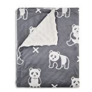 Boritar Baby Blanket Super Soft Minky with Double Layer Dotted Backing, Cute Panda Printed 30 x40