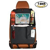 Kick Mat Car Back Seat Protector Back of Car Seat Kick Protector 2 Packs with 1 Tissue Box,10 Touch Screen Pocket-Use as Protector Backseat, Car Seat Storage, car backseat organizer(2pcs)